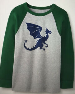 Hanna Andersson Dragon LS Thermal Kids Size 80 18-24 Months Gray Green Navy New