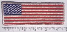 "American Flag Embroidered Patch White Edge LONG 5.75x2"" - Patriotic USA"