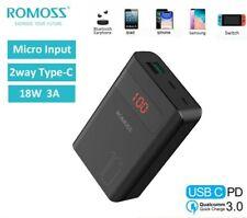 Romoss Power Bank 3USB 2-Way USB-C 18W carica batterie Ricarica Externe 10000mAh