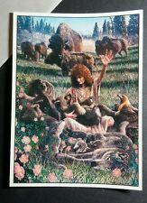 KEITH POWELL VINTAGE '94 WOM NATIVE AMERICAN MOOSE ELK WOLVES BEAR MUSIC STICKER