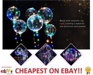 LED Light up + Bobo Balloon Clear Wedding Birthday helium Party Decor Lamp UK+EU