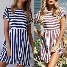 AU Womens Short Sleeve Striped OL Mini Shift Dress Smock Swing Dresses Size 6-14