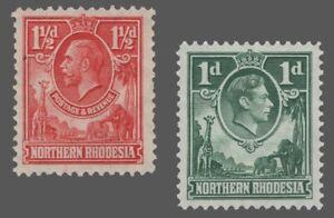 Northern Rhodesia Sc. #3 / 28  MH/ MNH  Wmk.4 KG V / KG VI  1925-29 / 1951  F/VF