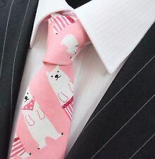 Tie Neck tie Slim Pink with Polar Bear Quality Cotton T6198
