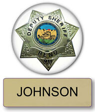 "RENO 911 JOHNSON NAME BADGE & DEPUTY 3"" BUTTON HALLOWEEN COSTUME PIN BACK"