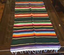 "Satillo or Serape Style Acrylic Mexican Blanket 8 oz 24"" W by 56"" L Green"