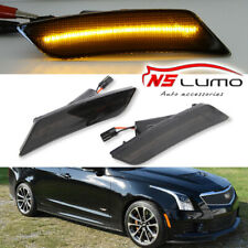 2Pcs Front LED Side Marker Light For Cadillac ATS 2013-2017 XT5 2017 Smoked Lens