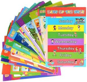 25 Pack Educational Posters Homeschooling Supplies - Classroom Decor abc Poster