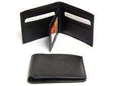 Men's 2 Id Window 6 Credit Card BiFold Leather Wallet Black Men's Wallet