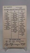 1967 Strat-O-Matic San Francisco Giants Pitching Card Ray Sadecki Vintage
