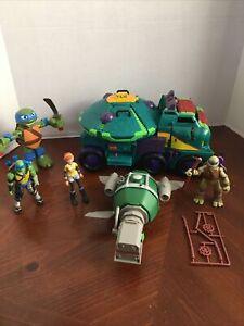 TMNT Lot Teenage Mutant Ninja Turtles Turtle TANK Taxi Vehicle Toy And Figures