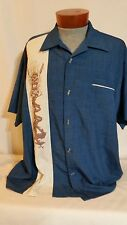 Hawaiian Graphic Blue/Multicolored Short Sleeve Panel Shirt 2X tiki bar spooner