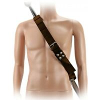 ADJUSTABLE BROWN LEATHER SHOULDER SWORD BALDRIC FROG BELT Sheath Scabbard