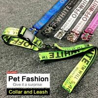 Adjustable Nylon Dog Leash 1.6m Fashion Off White Traction Rope Print Pet Collar