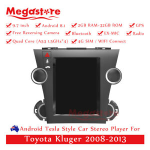 """9.7"""" Android 10.1 Tesla Style Non-DVD Car Player GPS For Toyota Kluger 2008-2013"""
