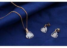 Corazón Amor Set Joyas Oro Rosa Chapado Cristal Collar Pendientes