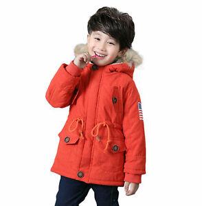 Kids Boys Girls Winter Fur Collar Hooded Coat USA Flag Thick Cotton Parka Jacket