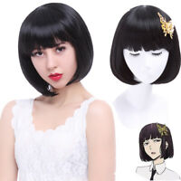 Women Bob Black Wig Akiko Yosano Cosplay Full Wigs Short Bang Party Hair Wigs