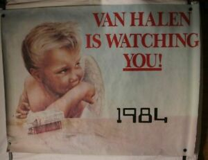 VAN HALEN IS WATCHING YOU 1984 RECORD STORE PROMO POSTER 36X48 Roth VG condition