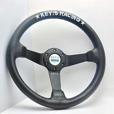 340mm Leather 89mm Deep Dish Steering Wheel Key's MOMO Racing OMP Drifting New B