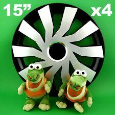 """Enjoliveurs 15"""" Cliff ★ 4 pièces ★ ARGENT+NOIR pour VW Bora Jetta Polo VOLVO C30"""