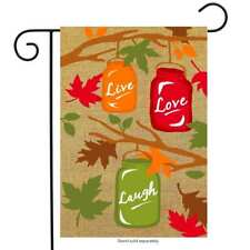"Fall Mason Jars Burlap Garden Flag Autumn Live Laugh Love 12.5"" x 18"""