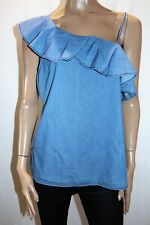 NOW Brand Blue Chambray One Shoulder Top Size 14 BNWT #TG64