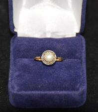 Bague ancienne or jaune et perle./ Ring in 18K yellow pearl and diamonds.