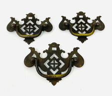 3 ORNATE CHIPPENDALE BRASS DRAWER PULLS – ONE LARGE, TWO SMALL
