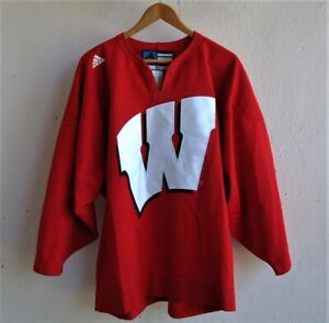 AUTHENTIC WISCONSIN BADGERS STITCHED ADIDAS HOCKEY JERSEY w/FIGHT STRAP sz. 52