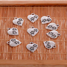10X Silver Heart Paw Print Charms Pendants Jewellery Making Crafts