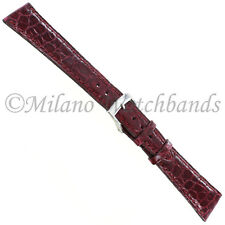 19mm Milano Bordoux Genuine Crocodile Padded Stitched Mens Watch Band