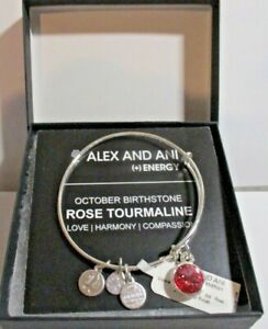 NEW NWT & BOX - Alex and Ani Rose OCTOBER Birthstone Color - Silver Bracelet