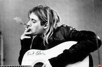 Kurt Cobain Nirvana Playing Guitar Black & White Poster 24 X 36