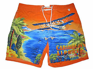 Rare Polo Ralph Lauren Orange Blue Caribbean Airways Swim Board Shorts Suit 28