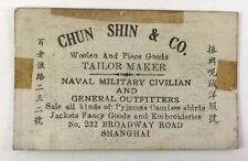 World War Ii Ww2 Wwii Era Chun Shin & Co Chinese Tailor Business Card