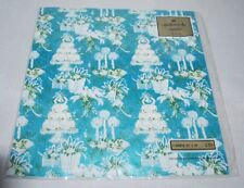Vintage Wedding GIft Wrapping Paper Hallmark  Blue Cake Candle Bell Dove Sealed
