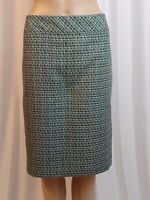 Evan Picone Womens Pencil Skirt Size 12 Black White Green Knee Length Lined