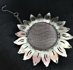 "Sunflower Hanging Bird Feeder Silver Metal 13""D Mesh Rustic Weathered Garden"
