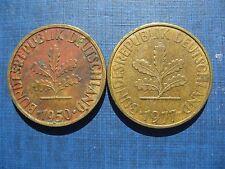 Alemania 10 Pfennig 1950J y 1977J. 2 monedas
