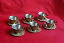 Service 6 tasses à thé café en métal couleur bronze avec 6 soucoupes