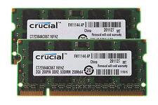 Crucial 4GB 2X 2GB DDR2 2RX8 PC2-5300S 667mhz 200PIN SODIMM RAM Laptop Memory