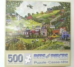 "Bits And Pieces 500 Large Pieces SMALL TOWN USA 18"" X 24"" ALL Pieces Included"