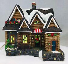 Santa's Workbench Hunters Hideaway Porcelain Lighted House Christmas Decor 2000
