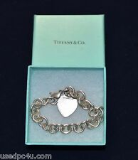VINTAGE TIFFANY & CO. VINTAGE HEART TAG TOGGLE CHAIN LINK BRACELET W/ BOX