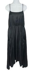 Women's Ulla Johnson Black Silky Spaghetti Strap Front Pocket Slip Dress Size 4