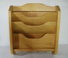 Light Oak Wood 3 Slot Mail Bill Organizer Wall Key Rack Mail Holder Hand Made