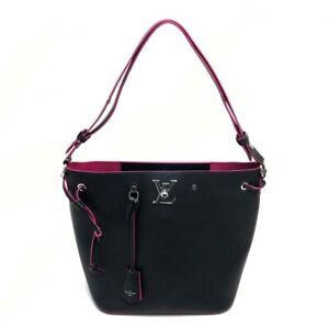 LOUIS VUITTON Lock Me-Bucket Tote Bag Shoulder Bag Black x pink Leather M54677