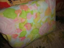 VINTAGE CANNON ROYAL FAMILY WATERCOLOR ROSE PINK YELLOW FULL FITTED SHEET