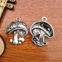 10pcs Charm mushroom silver pendant DIY Jewelry Making Fit Bracelet 7584